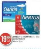 Aerius (20's) or Clartin (15's - 30's) Allergy Tablets