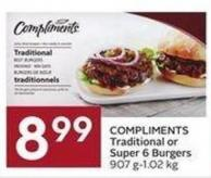 Compliments Traditional or Super 6 Burgers 907 G-1.02 Kg