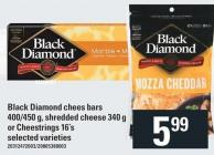 Black Diamond Chees Bars 400/450 G - Shredded Cheese 340 G Or Cheestrings 16's