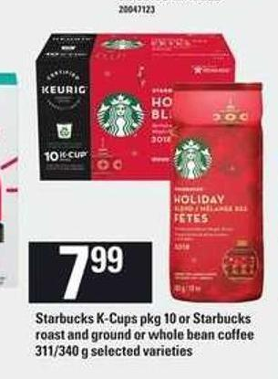 Starbucks K-cups - Pkg 10 Or Starbucks Roast And Ground Or Whole Bean Coffee - 311/340 G