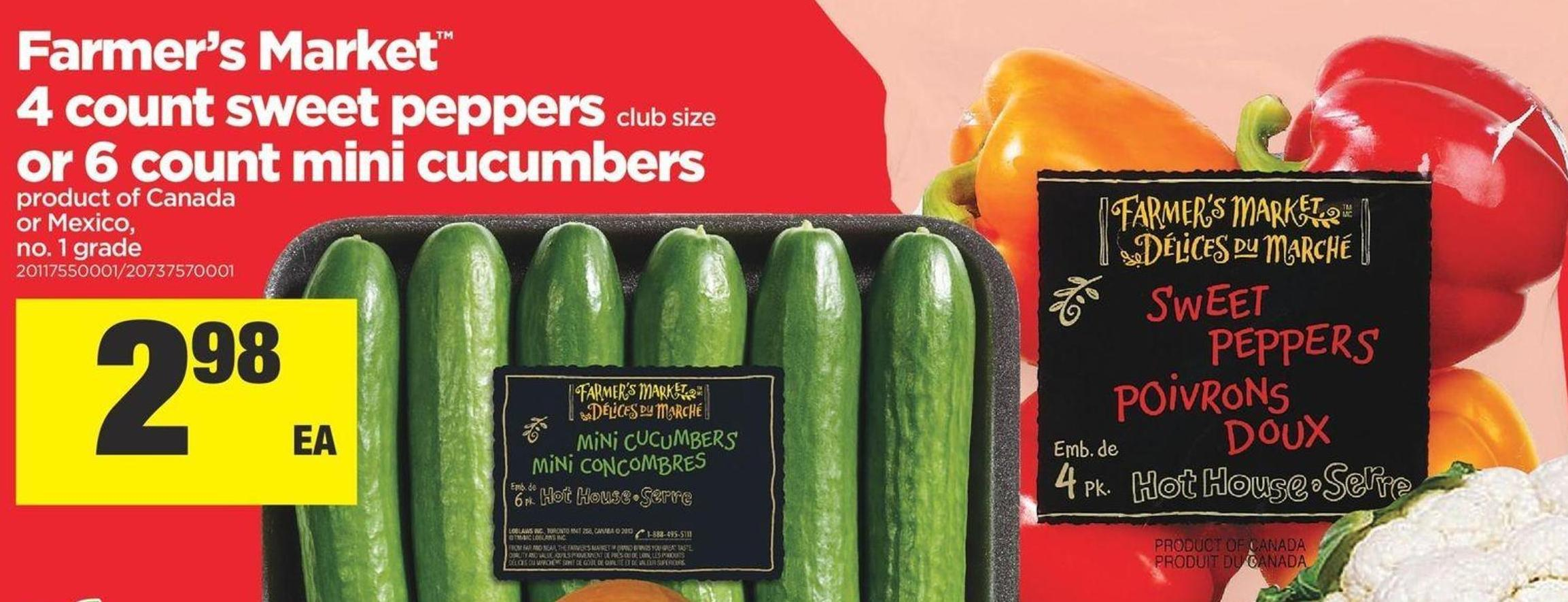 Farmer's Market 4 Count Sweet Peppers Club Size Or 6 Count Mini Cucumbers