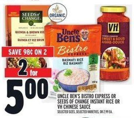 Uncle Ben's Bistro Express or Seeds of Change Instant Rice or VH Chinese Sauce