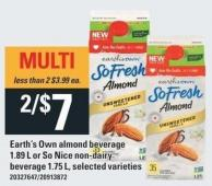 Earth's Own Almond Beverage - 1.89 L Or So Nice Non-dairy Beverage - 1.75 L