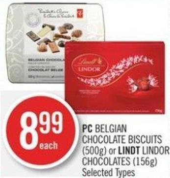 PC Belgian Chocolate Biscuits (500g) or Lindt Lindor Chocolates (156g)