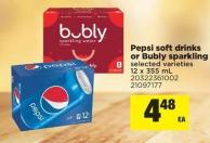 Pepsi Soft Drinks Or Bubly Sparkling - 12 X 355 mL