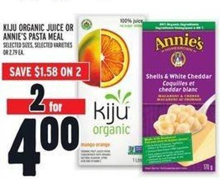 Kiju Organic Juice Or Annie's Pasta Meal