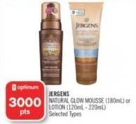 Jergens Natural Glow Mousse (180ml) or Lotion (120ml - 220ml)