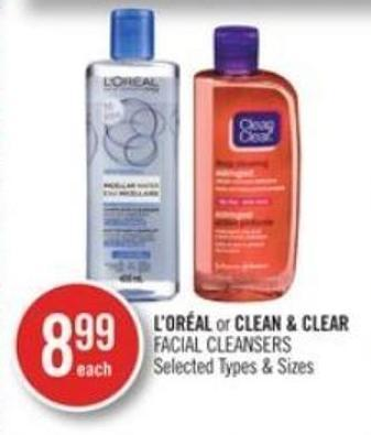 L'oréal or Clean & Clear Facial Cleansers