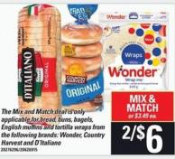 Wonder - Country Harvest And D'italiano Bread - Buns - Bagels - English Muffins And Tortilla Wraps