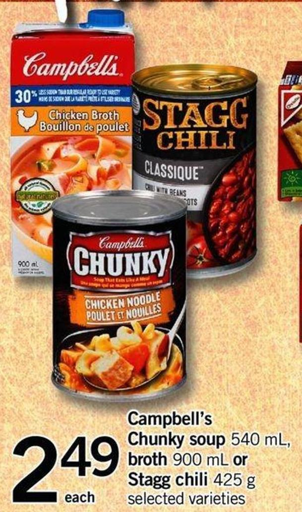 Campbell's Chunky Soup 540 Ml - Broth 900 Ml Or Stagg Chili 425 G