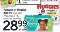 Pampers Or Huggies Diapers - Club Size Plus Size 1-6 - 84-180's