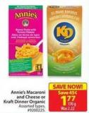 Annie's Macaroni and Cheese or Kraft Dinner Organic