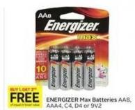 Energizer Max Batteries Aa8 - Aaa4 - C4 - D4 or 9v2