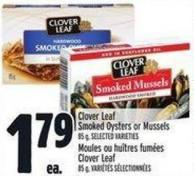 Clover Leaf Smoked Oysters Or Mussels 85 G