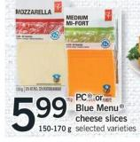 PC Or Blue Menu Cheese Slices - 150-170 g