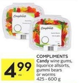 Compliments Candy Wine Gums - or Worms 425 - 600 g