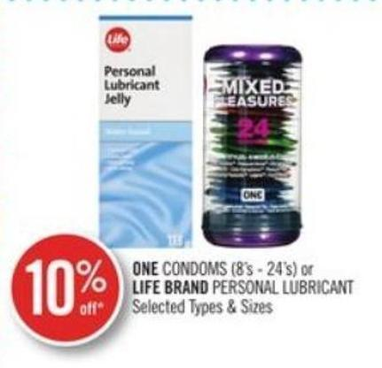 One Condoms (8's - 24's) or Life Brand Personal Lubricant