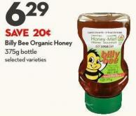 Billy Bee Organic Honey 375g Bottle