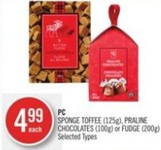 PC Sponge Toffee (125g) - Praline Chocolates (100g) or Fudge (200g)