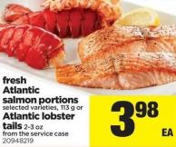 Fresh Atlantic Salmon Portions - 113 g or Atlantic Lobster Tails - 2-3 Oz