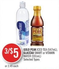 Gold Peak Iced Tea (547ml) - Glacéau Smart or Vitamin Water (591ml)