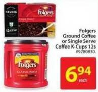 Folgers Ground Coffee or Single Serve Coffee K-cups 12s