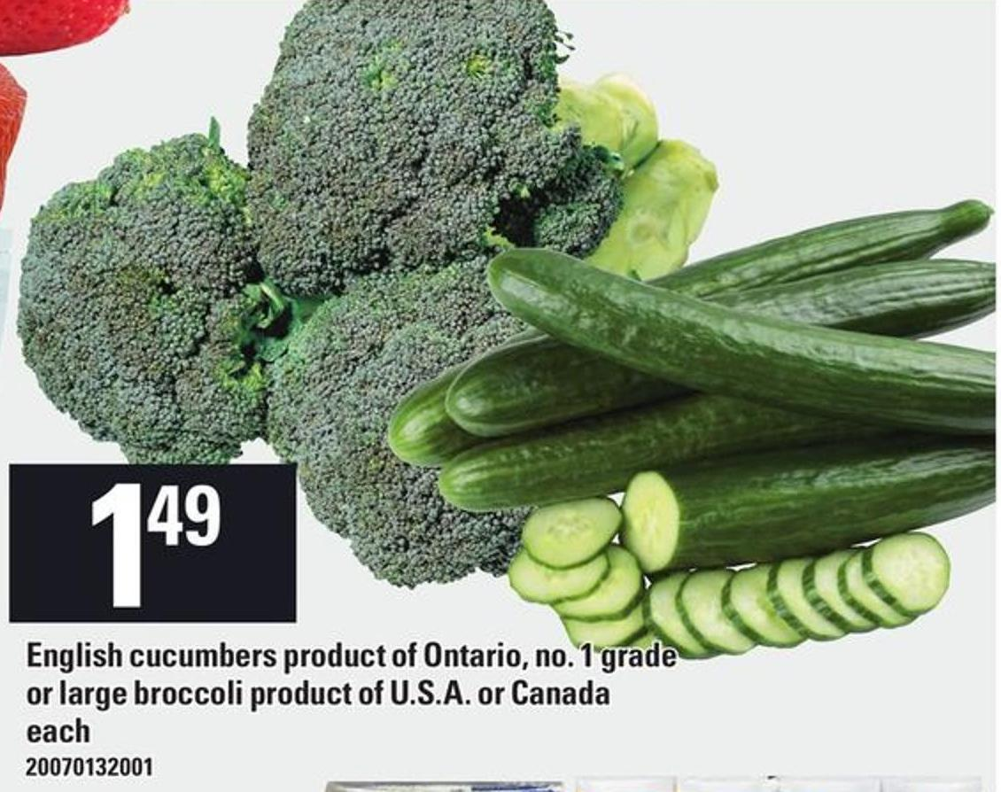 English Cucumbers Or Large Broccoli