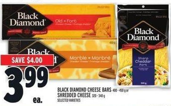 Black Diamond Cheese Bars 400 - 450 g Or Shredded Cheese 320 - 340 g