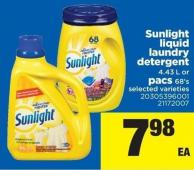 Sunlight Liquid Laundry Detergent 4.43 L Or Pacs 68's