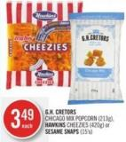 Gh. Cretors Chicago Mix Popcorn (213g) - Hawkins Cheezies (420g) or Sesame Snaps (15's)