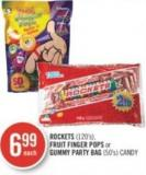 Rockets (120's) - Fruit Finger Pops or Gummy Party Bag (50's) Candy