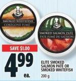 Elite Smoked Salmon Paté Or Smoked Whitefish 200 g