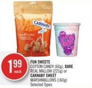 Fun Sweets Cotton Candy (60g) - Dare Real Mallow (225g) or Carnaby Sweet Marshmallows (160g)
