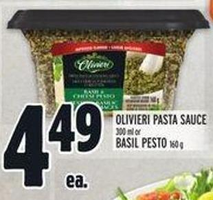 Olivieri Pasta Sauce 300 ml Or Basil Pesto 160 g
