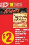 Mars Or Nestlé Snack Size Chocolates - 10 Ct Or Werther's Candy - 116-135 g