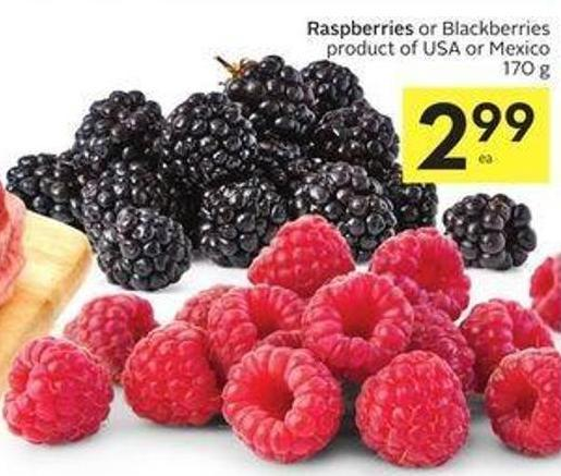 Raspberries or Blackberries Product of USA or Mexico 170 g