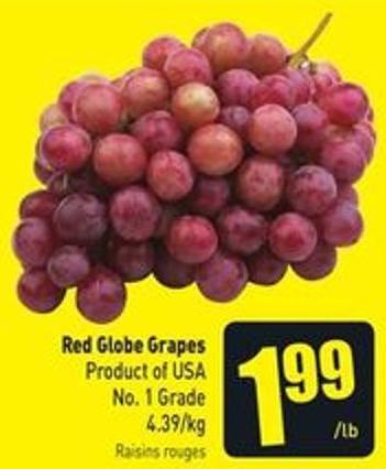 Red Globe Grapes 4.39/kg