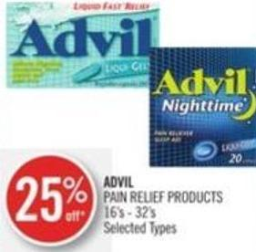 Advil Pain Relief Products 16's - 32's