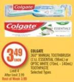 Colgate 360° Manual Toothbrush (1's) - Essential (98ml) or Optic White (70ml - 140ml) Toothpaste