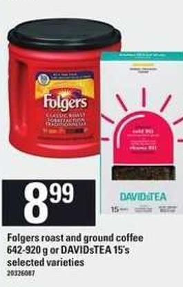 Folgers Roast And Ground Coffee - 642-920 g Or Davidstea - 15's