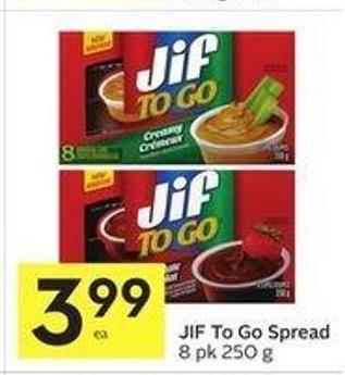 Jif To Go Spread