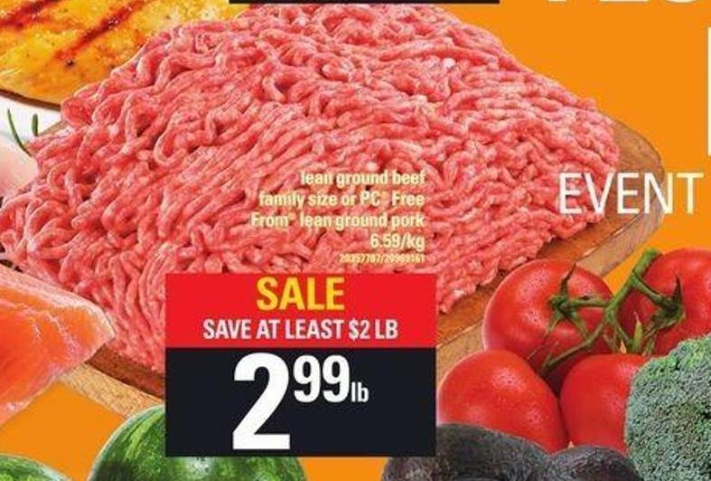 Lean Ground Beef Family Size Or PC Free From Lean Ground
