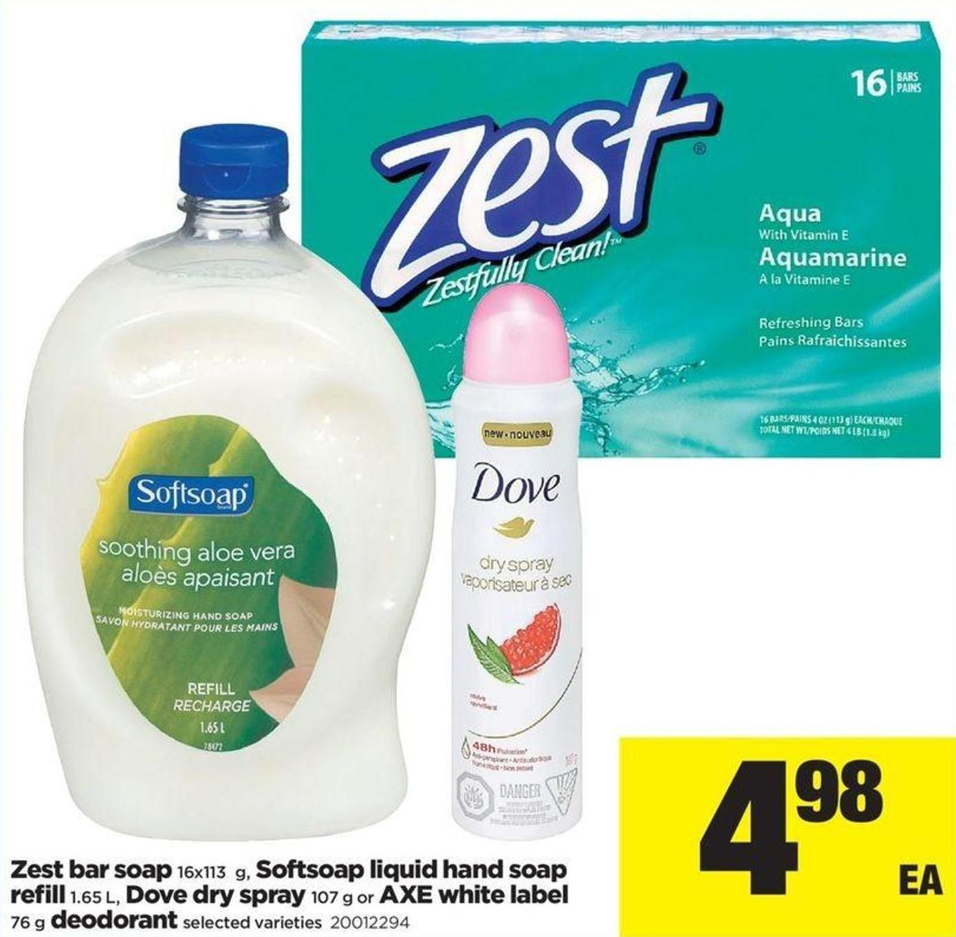 Zest Bar Soap - 16x113 G - Softsoap Liquid Hand Soap Refill - 1.65 L - Dove Dry Spray - 107 G Or Axe White Label - 76 G Deodorant