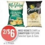 Miss Vickie's Chips or Smartfood Popcorn