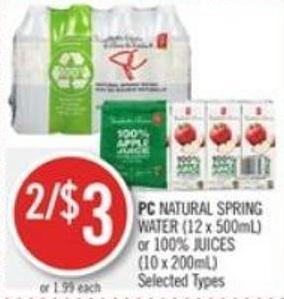 PC Natural Spring Water (12 X 500ml) or 100% Juices (10 X 200ml)