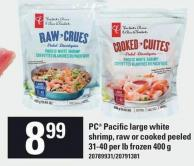 PC Pacific Large White Shrimp - Raw Or Cooked Peeled - 31-40 Per Lb Frozen 400 g