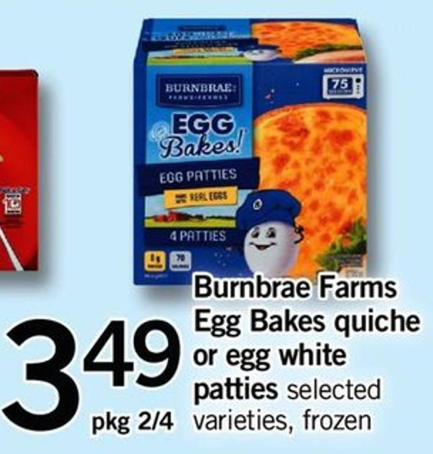 Burnbrae Farms Egg Bakes Quiche Or Egg White Patties - Pkg 2/4