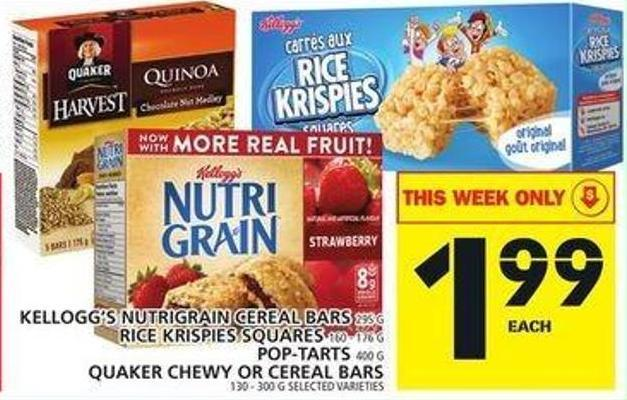 Kellogg's Nutrigrain Cereal Bars Or Rice Krispies Squares Or Pop-tarts Or Quaker Chewy Or Cereal Bars