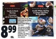 Irresistibles Pacific White Extra Large Raw Shrimp 21 - 25 Size Or Garlic & Herb Shrimp 340 G - Frozen