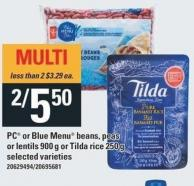 PC Or Blue Menu Beans - Peas Or Lentils - 900 G Or Tilda Rice - 250 g
